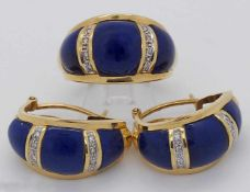 1 Set Ohrringe, Ring GG 18ct.Lapislazuli Brill. ca. Ringgröße 57,5