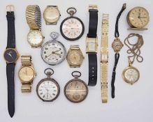 1 Konv. Armband-/Taschenuhren GG 14ct.Si. u.a. z.T. um 1900 Gsp.