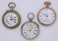 3 Taschenuhren, wohl z.T. SilberELGIN, J. VICKERS, z.T. England, z.T. um 1900, z.T. besch.