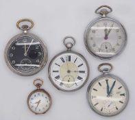 1 Konv. Taschenuhren Metall u.a. z.T. um 1900 besch.