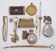 1 Konv. Taschen-/Armbanduhren/Schnupftabakdosenz.T. verg. z.T. um 1900, min. Si.