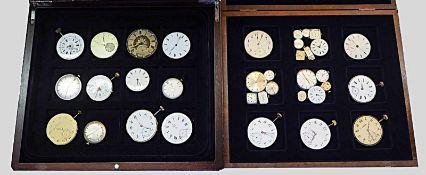 1 Konv. Uhrwerke von Armband-/Taschenuhrenin 4 Schatullen