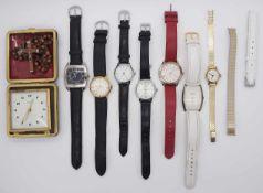 1 Konvolut Armbanduhren, Wecker u.a. z.T. GG 14ct.
