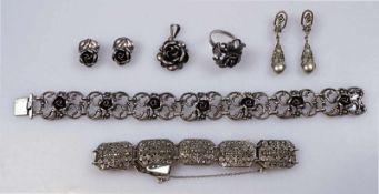 """1 Set Silberschmuck 835 / 925 """"Rosen"""". Armband, Ring (Gr. 56), Ohrclips, Anhängersowie Set"""