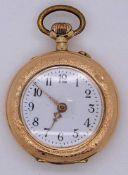 1 Damentaschenuhr z.T. RG 14ct. um 1900