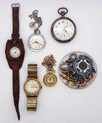 1 Konv. Armband-/TaschenuhrenSi. u.a. z. T. um 1900, Zubehör