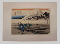 """1 Farbholzschnitt """"Nr. 14 Hara: Der Berg Fuji am Morgen"""" R. mittig sign./unten bez. Hiroshige AND"""