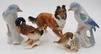 "5 Figuren Porzellan z.T. HUTSCHENREUTHER ""Vögel"" ""Hund"" u.a., Unterglasurbemalung,"