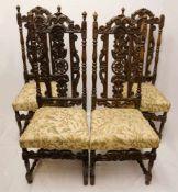 4 Stühle wohl Gründerzeit Holz reich beschnitzt