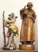 1 Konv. Holzfiguren 20. Jh. z.T. farb. gef.: