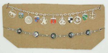 2 Armbänder Silber z.T. Städtewappen