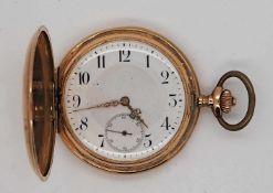 """1 Taschenuhr GG 14ct. um 1900, monogrammiert """"RR"""" (?)"""