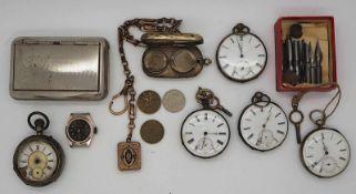 1 Konvolut Taschenuhren u.a. um 1900, z.T. besch.