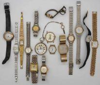1 Konv. Armbanduhren: GG 14ct., Metall u.a. in der Schatulle