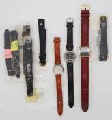 1 Konvolut Armbanduhren/Lederbänder wohl DUGENA u.a. Gsp.