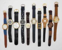 1 Konv. Armbanduhren u.a., Metall z.T. vergoldet Gsp.