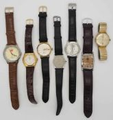 1 Konv. Armbanduhren min. GG 14ct., Lederband Gsp.