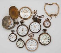 1 Konv. Taschenuhren: Silber, wohl min. GG, um 1900z.T. besch.