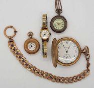 1 Konv. Taschenuhren: GG 14ct./vergoldet u.a., z.T. um 1900