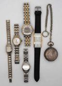 1 Konv. Armbanduhren: Edelstahl u.a., MAURICE LACROIX u.a., Taschenuhr Silber um 1900 Gsp.<b