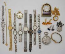 1 Konvolut Armbanduhren, Metall vergoldet versch.sowie Manschettenknöpfe, Silber, u.a