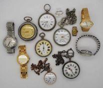 1 Konv. Taschenuhren u.a., wohl min. GG 14ct., Silber u.a., z.T. um 1900, z.T. besch.