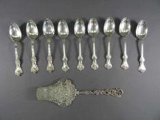 Drei und sechs Kaffeelöffelum 1900, 925 Silber, Whiting Manufacturing Co., New York, USA, mit