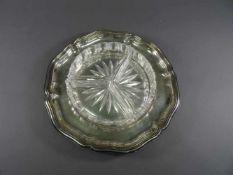 Tablett, 830 SilberGottlieb Kurz, Barockstil, mit mehrfach eingezogenem Rillenrand und drei
