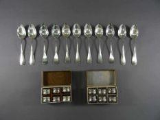 Zwei und sechs Serviettenringe800 bzw. 835 Silber, elf Kaffeelöffel, Bruckmann & Söhne, zus. ca. 316