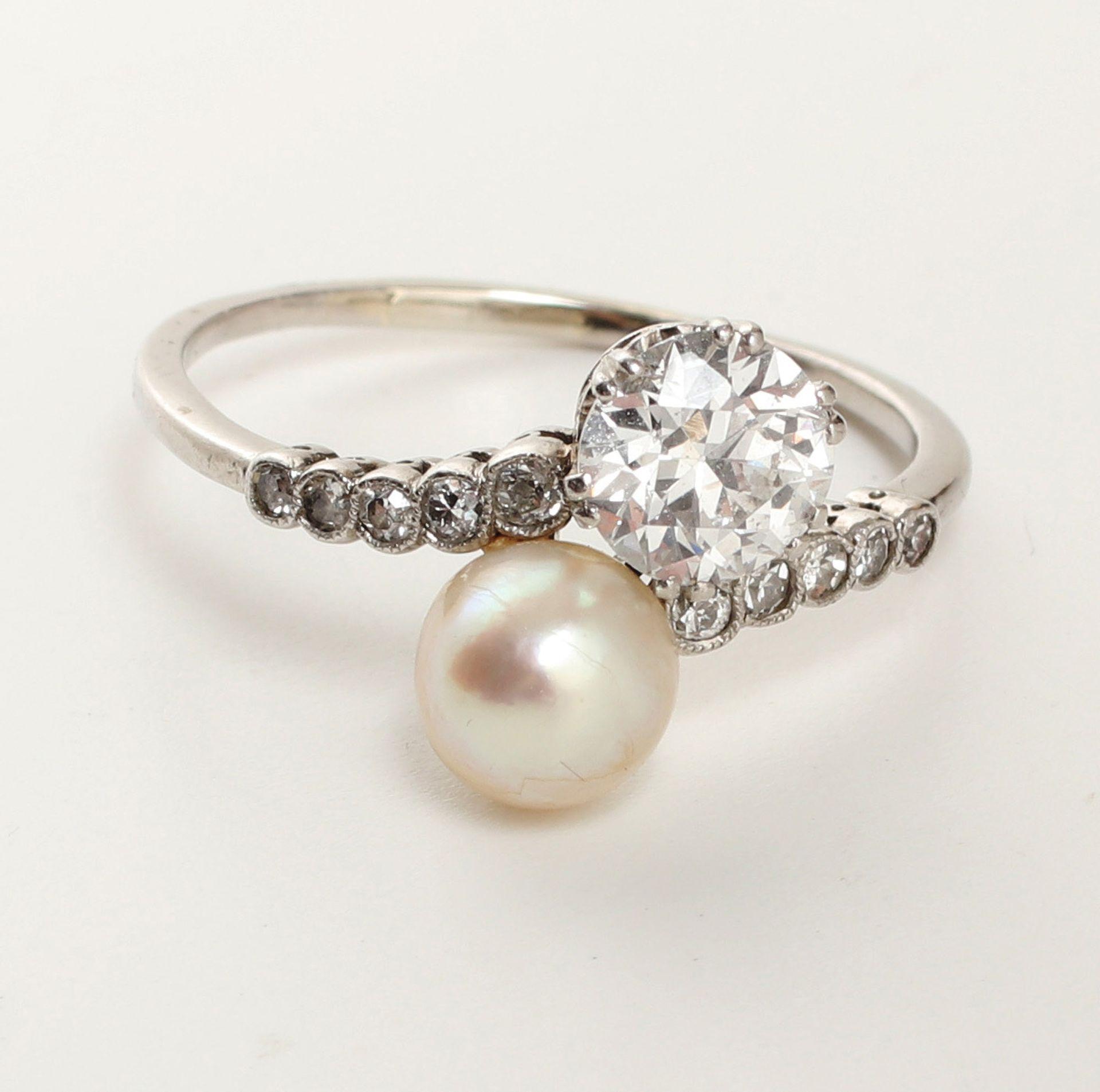 Ring, um 1910-20, 21,6 K WG oder Platin