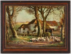Henry Morley, l.u.sig.(1869-1937), 'Aufbruch zur Weide', Öl/Holz, 29 x 41 cm (Fi)