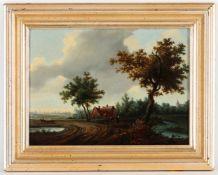 Unbekannter Künstler, 20.Jh.'Gehöft am Feldweg', Öl/Holz, 28 x 38 cm (Fi)