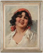 A. Toro, r.u.sig.'Fröhliche Südländerin', Öl/Lwd., 39,5 x 30 cm, doubliert (Fi)