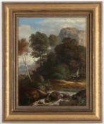 Unbekannter Künstler, 19.Jh.'Mittelgebirgsidylle', Öl/Lwd., 38 x 30 cm, doubliert, re