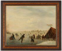 Unbekannter Künstler, m.u.bez. Koek20.Jh., 'Eisvergnügen', Öl/Holz, 33 x 41 cm (Fi)