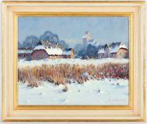 Walter Rohrbach, r.u.sig.geb. Hersfeld 1939, 'Norddeutsches Dorf im Winter', Öl/Lwd.,