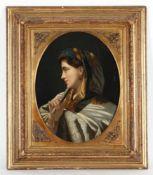 Unbekannter Künstler, um 1900'Dame mit Fächer' und 'Dame mit Schmetterling', je Öl/L