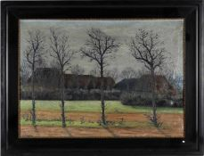 W. Oppenheimer, l.u.sig., dat. 1915'Vorfrühling am Dorfrand', Öl/Lwd., 72 x 99 cm, Dr