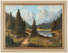 Helmut Kips, r.u.sig.Krefeld 1937 - tätig daselbst, 'Sommerlicher Gebirgssee', Öl/Lwd