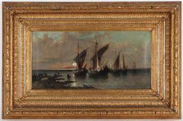 Carlo, r.u.sig., dat. 1880'Fischerboote im Mondschein', Öl/Lwd., 32 x 64 cm, verschmutzt <