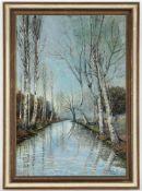 O. Molle, r.u.sig., dat. 1907'Birken am verschneiten Fluss', Öl/Lwd., 80 x 55 cm, fleckig