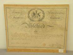 Urkunde Abschied, Königl.. Inf. Regt. Württemberg Stuttgart 1828, 36x49 cm