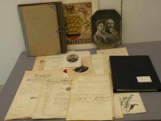 Militärmappe Württemberg/Baden, Fotos, Schriftverkehr, Urkunden, Ordenbänder usw.