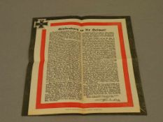 Original-Flugblatt Hindenburg 1918, von der Druckerei Kaupert, Freudenstadt