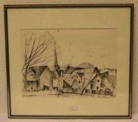 """Greiner, Anton: """"Fränkisches Dorf"""". Lithographie, im Stein signiert, 29,5 x 40,5cm. Rahmen"""