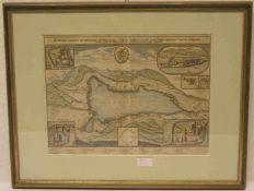 """""""Stift und Kloster Tegernsee"""". Stich von Merian, 17. Jh., 29 x 38cm, Rahmen mit Glas."""