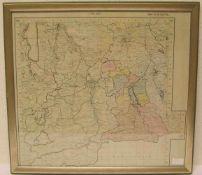 Karte von Bad Tölz, 50 x 55cm, Rahmen mit Glas.