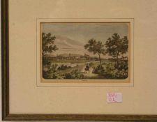 Bamberg. Kolorierter Holzstich, 19. Jh., 10 x 16cm. Rahmen mit Glas.