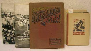 III. Reich: Neun Bücher und Hefte. Dabei: Olympia 1936, Cigarettenbilderdienst, Band I und