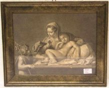 Hl. Maria mit schlafendem Jesuskind und dem kleinen Johannes. Kupferstich, 18. Jh., 22 x